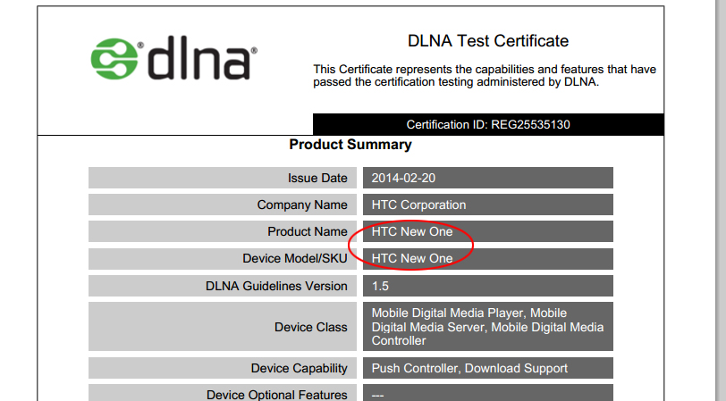 DLNA HTC New One