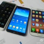 HTC One Max naast Samsung Galaxy Note 3 en Note 2